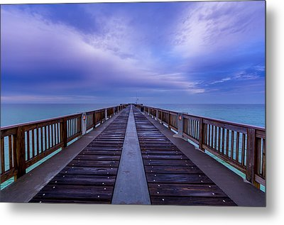 Sunrise At The Panama City Beach Pier Metal Print by David Morefield