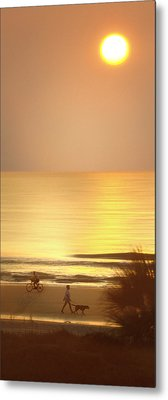 Sunrise At Topsail Island Panoramic Metal Print by Mike McGlothlen