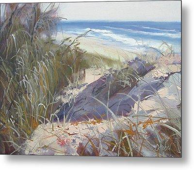 Metal Print featuring the painting Sunrise Beach Dunes Sunshine Coast Qld Australia by Chris Hobel
