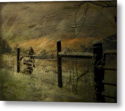 Sunrise Behind The Fence Metal Print by Kathy Jennings