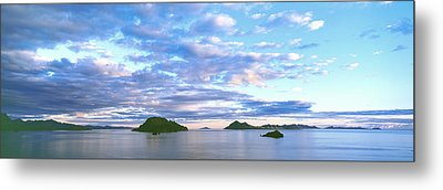 Sunrise Clouds Reflect In The Still Metal Print by Panoramic Images