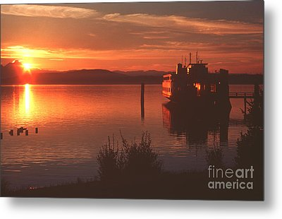 Sunrise Ferry Metal Print by Jeanette French