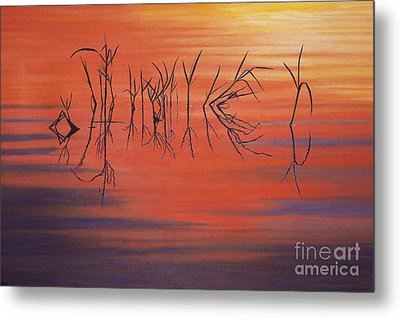 Sunrise Grass Reflections Metal Print by Jane Axman