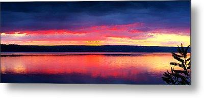 Sunrise In Cayuga Lake Ithaca New York Panoramic Photography Metal Print by Paul Ge