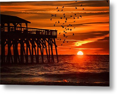 Sunrise In Myrtle Beach With Birds Flying Around The Pier Metal Print
