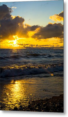 Metal Print featuring the photograph Sunrise Lake Michigan August 30th 2013 001  by Michael  Bennett