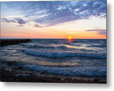 Metal Print featuring the photograph Sunrise Lake Michigan August 8th 2013 003 by Michael  Bennett