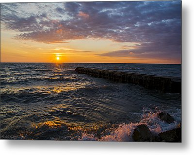 Metal Print featuring the photograph Sunrise Lake Michigan August 8th 2013 005 by Michael  Bennett