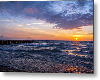 Metal Print featuring the photograph Sunrise Lake Michigan August 8th 2013 007 by Michael  Bennett