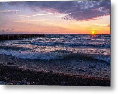 Metal Print featuring the photograph Sunrise Lake Michigan August 8th 2013 Wave Crash by Michael  Bennett