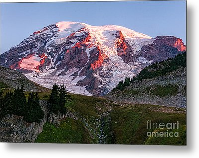 Sunrise Mt Rainier Metal Print by Sharon Seaward