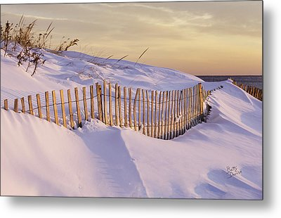 Sunrise On Beach Fence Metal Print by Betty Denise