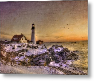 Sunrise On Cape Elizabeth - Portland Head Light - New England Lighthouses Metal Print by Joann Vitali
