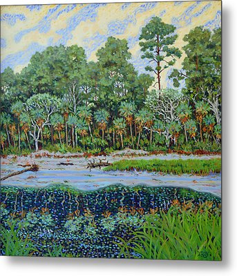 Metal Print featuring the painting Sunrise On Hunting Island Lagoon by Dwain Ray