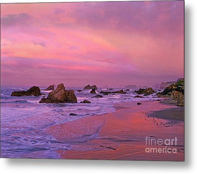 Metal Print featuring the photograph Sunrise On Sea Stacks Harris Sb Oregon by Dave Welling