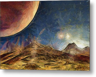 Sunrise On Space Metal Print by Ayse Deniz