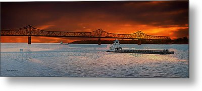 Sunrise On The Illinois River Metal Print by Thomas Woolworth