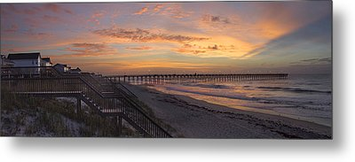 Sunrise On Topsail Island Panoramic Metal Print by Mike McGlothlen