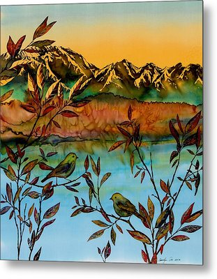 Sunrise On Willows Metal Print by Carolyn Doe