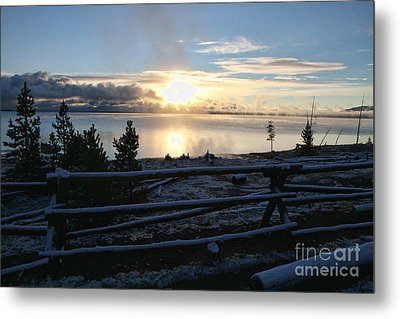 Sunrise On Yellowstone Lake Metal Print by Edward R Wisell