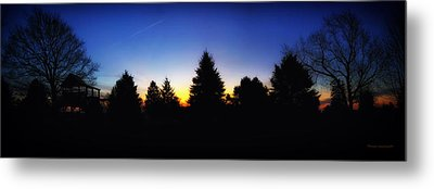 Sunrise Over East Lawn Panorama Metal Print by Thomas Woolworth