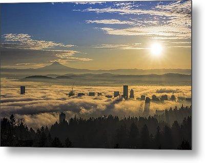Sunrise Over Foggy Portland Metal Print