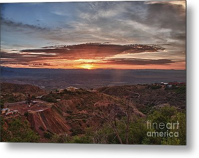 Sunrise Over Sedona With The Jerome State Park Metal Print by Ron Chilston