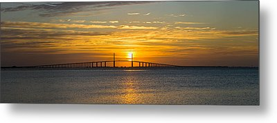 Sunrise Over Sunshine Skyway Bridge Metal Print by Panoramic Images