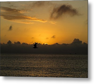 Sunrise Over The Ocean Metal Print by Zina Stromberg