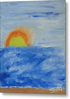 Metal Print featuring the painting Sunrise by PainterArtist FINs daughter