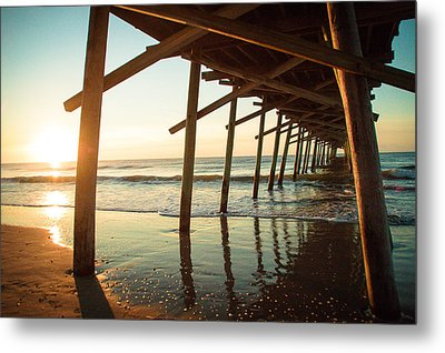 Sunrise Pier Metal Print by Jill Laudenslager