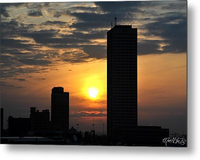 Sunrise Silhouette Buffalo Ny V2 Metal Print by Michael Frank Jr
