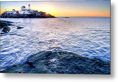 Sunrise Starburst Over Nubble Lighthouse  Metal Print by Thomas Schoeller