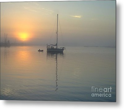 Sunrise Through The Fog Metal Print by Bob Sample