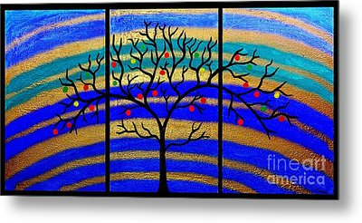 Sunrise Tree - Abstract Oil Painting Original Metallic Gold Textured Modern Contemporary Art Metal Print by Emma Lambert