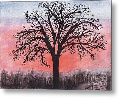 November Sunrise Walnut Tree Watercolor Metal Print