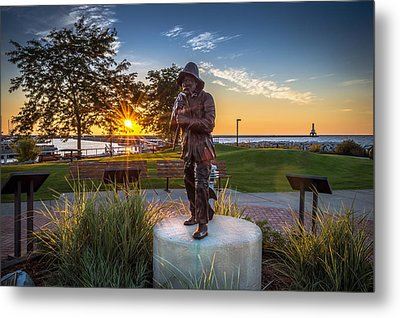 Sunrise With The Fisherman Metal Print