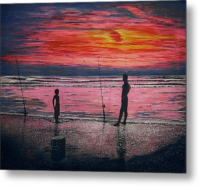 Metal Print featuring the painting Sunrise.us. by Viktor Lazarev