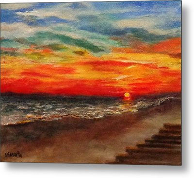 Sunset After Sandy Metal Print by Annie St Martin
