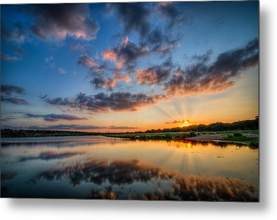 Sunset Along The Brushy Metal Print by Jeffrey W Spencer