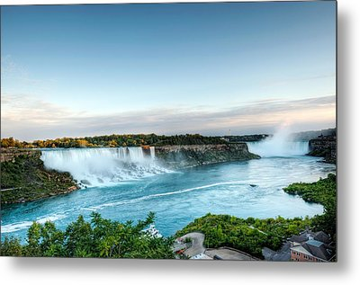 Sunset American And Canadian Falls At Niagara  Metal Print by Marek Poplawski