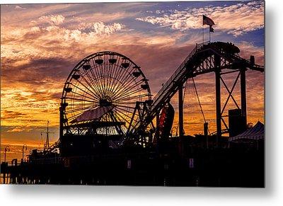 Sunset Amusement Park Farris Wheel On The Pier Fine Art Photography Print Metal Print