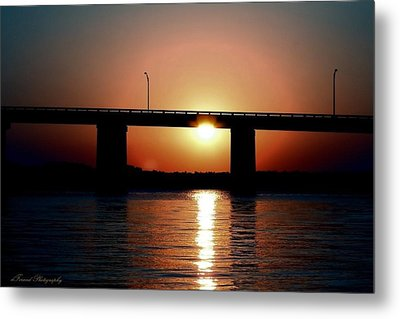 Sunset And Bridge Metal Print by Debra Forand