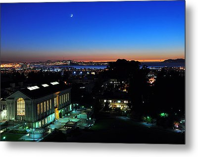 Sunset And Crescent Moon Over Campus Metal Print