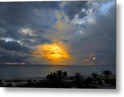 Sunset And Rain Metal Print by Mariarosa Rockefeller