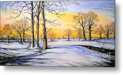 Sunset And Snow Metal Print by Andrew Read