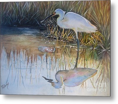 Sunset And Snowy Egret Metal Print by Patricia Pushaw
