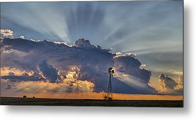 Sunset And Windmill Metal Print by Rob Graham
