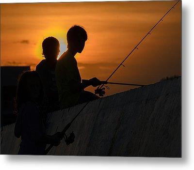 Sunset Anglers Metal Print
