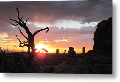 Sunset Arches National Park Metal Print